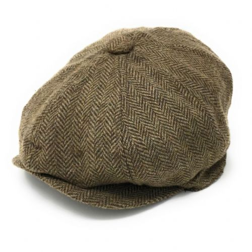 d9fee4f9a86 8-piece cap with elastic back. Herringbone. Wool Blend. Fawn Green